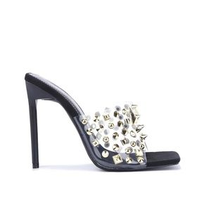 !! NEW !! Clear Studded Mules in Black